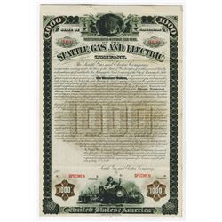 Seattle Gas and Electric Co., 1898 Specimen Bond