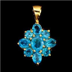 Natural Aaa Neon Brazil Blue Apatite Pendant