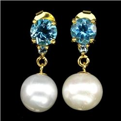 Natural Swiss Blue Topaz Creamy Pearl Earrings