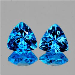 Natural AAA Swiss Blue Topaz Pair 11 MM - FL