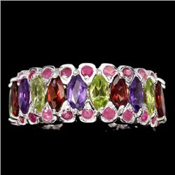 Natural Amethyst Garnet Peridot Ruby Ring