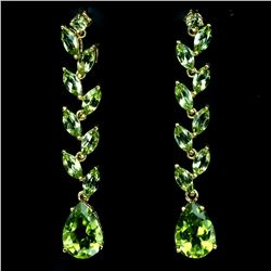 Natural 12x8 mm Top Rich Green Peridot Earrings