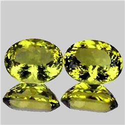 Natural Green Gold Lemon Quartz Pair 15x12 MM - VVS