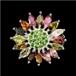 Natural Fancy Tourmaline Chrome Diopside Ring