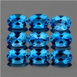 Natural Swiss Blue Topaz 9 Pcs  - Flawless