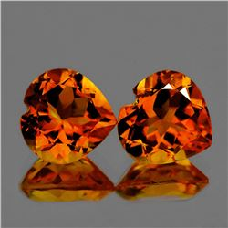 Natural Madeira Orange Citrine Heart Pair 10.00 MM - FL