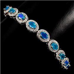 Natural 6x4mm Top Rich Blue Fire Opal Bracelet