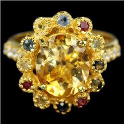 Natural CITRINE & MULTI COLOR SAPPHIRE Ring