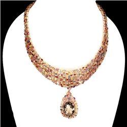 Natural 28x18mm Smoky Quartz Ruby Sapphire Necklace