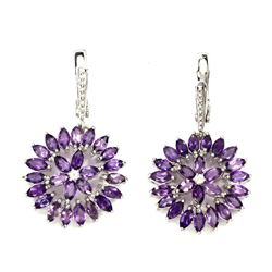 Natural Top Rich Purple Amethyst Earrings