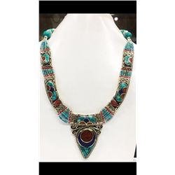 Tibet Hand Made Turquoise, Coral, Lapis Lazuli Necklace