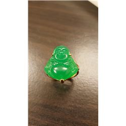 Hand Carved 12 Ct Jade Buddha Ring Mounted In 14 kt.