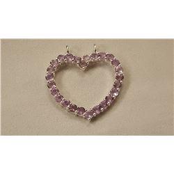 7.50 CT PINK ROSE DE FRANCE AMETHYST HEART PENDANT