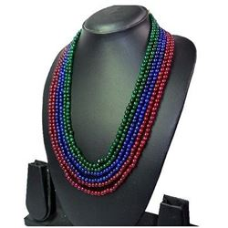 Natural Ruby ,Blue Sapphire Emerald Necklace