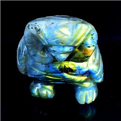CERTIFIED 1035 CT HAND CARVED LABRADORITE OWL