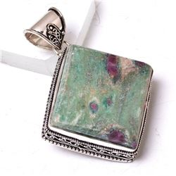 GORGEOUS NATURAL 68 CT RUBY ZOISITE PENDANT