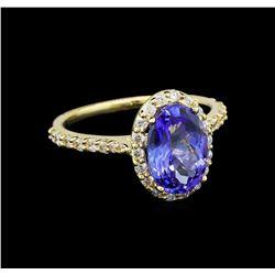 2.86 ctw Tanzanite and Diamond Ring - 14KT Yellow Gold