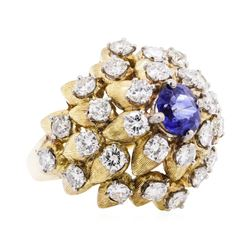 4.28 ctw Sapphire And Diamond Ring - 18KT Yellow Gold