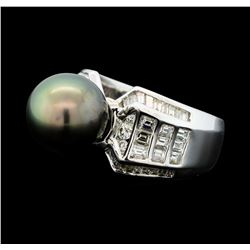 1.49 ctw Diamond and Black Pearl Ring - Palladium