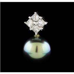 Pearl and Diamond Pendant - 14KT White Gold