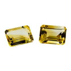 13.38 ctw.Natural Emerald Cut Citrine Quartz Parcel of Two