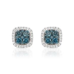 14k White Gold 0.58CTW Diamond and Blue Diamonds Earrings, (SI/H)