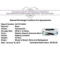 30.40 ct.Natural Rectangle Cushion Cut Aquamarine