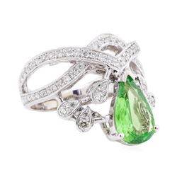 2.23 Tsavorite and Diamond Ring - 14KT White Gold
