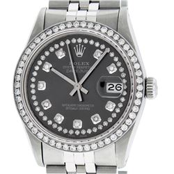 Rolex Mens Stainless Steel Rhodium String Diamond 36MM Datejust Wristwatch