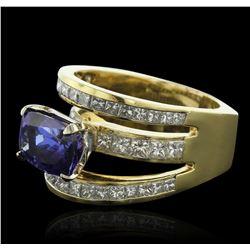18KT Yellow Gold 5.16 ctw Tanzanite and Diamond Ring