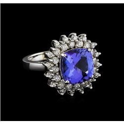 5.63 ctw Tanzanite and Diamond Ring - 14KT White Gold