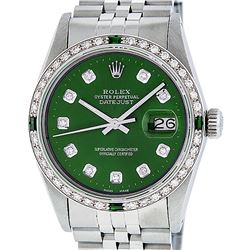 Rolex Mens Stainless Steel Green Diamond & Emerald 36MM Datejust Wristwatch