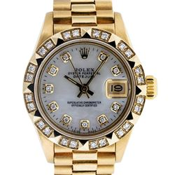 Rolex Ladies 18K Yellow Gold MOP Diamond President Wristwatch With Watch Winder