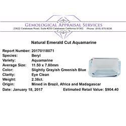 2.38 ct.Natural Emerald Cut Aquamarine