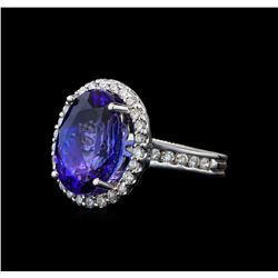 9.04 ctw Tanzanite and Diamond Ring - 14KT White Gold