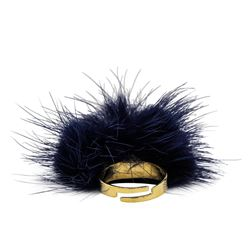 Mink Fur Adjustable Ring - Gold Plated