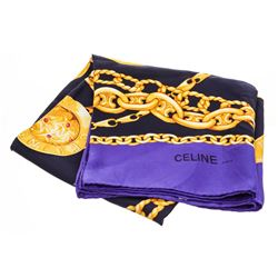 Celine Blue Purple Gold Silk Scarf Chain-Link Belt Illustrations