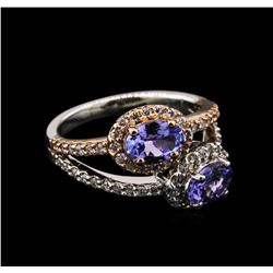 1.34 ctw Tanzanite and Diamond Ring - 14KT Two-Tone Gold