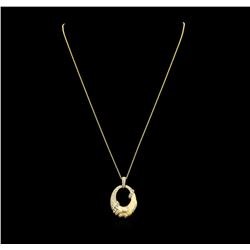 0.74 ctw Diamond Pendant & Chain - 14KT Yellow Gold
