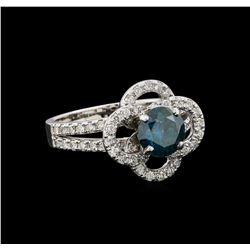 14KT White Gold 1.63 ctw Blue Diamond Ring