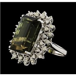 15.32 ctw Green Tourmaline and Diamond Ring - 14KT White Gold