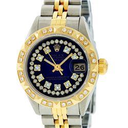 Rolex Ladies 2 Tone 14K Blue Vignette String Pyramid Diamond Datejust Wristwatch