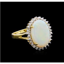 2.82 ctw Opal and Diamond Ring - 18KT Yellow Gold