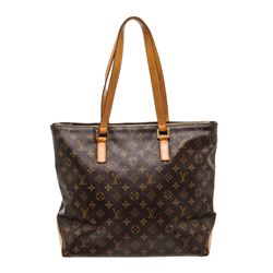 Louis Vuitton Monogram Canvas Leather Cabas Mezzo Shoulder Bag