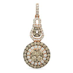 14k Rose Gold 1.38CTW Diamond and Brown Diamonds Pendant, (VS-SI1/F-G)