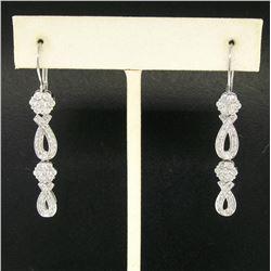 14k White Gold & Diamond Long Dangle EarringsPave Ribbons & Flower Clusters