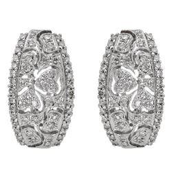 14k White Gold 0.68CTW Diamond Earrings, (SI3/G-H)