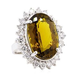 25.30 ctw Golden Tourmaline And Diamond Ring - 14KT White Gold