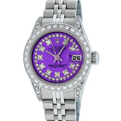 Rolex Ladies Stainless Steel Quickset Purple String Diamond Lugs Datejust Wristw