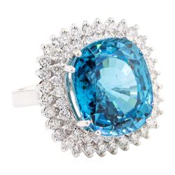 23.50 ctw Blue Zircon And Diamond Ring - 14KT White Gold